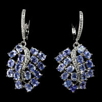 Unheated Oval Tanzanite 4x3mm Cz White Gold Plate 925 Sterling Silver Earrings