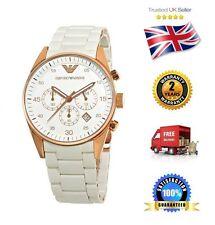 NEW Emporio Armani AR5919 Rose Gold White Men's Gents Unisex Chronograph Watch