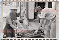 WW2 Street Scene Market Store Rubber Ads Shop B&W Vintage Singapore Photo 17764