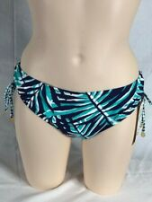 Women's NWT Anne Cole Navy Multi Shirred Tie Sides Swim Hipster Bikini Bottom