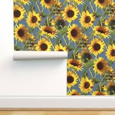 Removable Water-Activated Wallpaper Sunflower Blue Yellow Retro Painting
