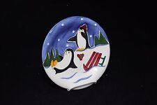 "Cooks Club Blizzard Penguin Shivers Salad Plate 8-1/4"""