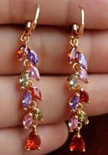 18K Yellow Gold Filled - 2.1'' Leaf Flower Ruby Topaz Amethyst Party Earrings