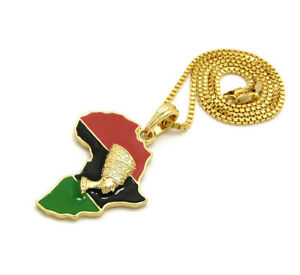 Africa Map Red Black Green Nefertiti Egypt Pendant 24 Inches Box Chain Necklace