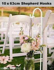 10x 63cm White Wedding Party Garden Shepherd Hook Crook Lantern Flower Holder EJ