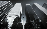 """SKYSCRAPERS OF NEW YORK A3 CANVAS GICLEE PRINT POSTER FRAMED 16.5"""" x 11.1"""""""
