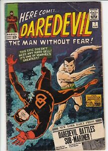 Daredevil # 7 VG (4.0) Sub-Mariner. 1st red costume. Marvel. OW pages