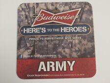 2012 Beer Coaster Bar Mat ~ Anheurser-Busch BUDWEISER ~ Here's to Heroes <> ARMY