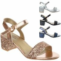 Ladies Womens Mid Low Block Heel Ankle Strap Party Evening Sandals Shoes Size