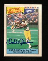 CHARLIE JOINER 1987 TOPPS AUTOGRAPHED SIGNED AUTO FOOTBALL CARD 4 CHARGER