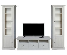 Steens Massivholz Wohnwand Monaco Kiefer Landhausstil White Wash