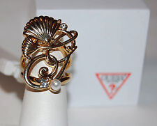 NWT Guess Gold Metal & Clear Rhinestones G Nautical Charm Cluster Ring, Sz 7