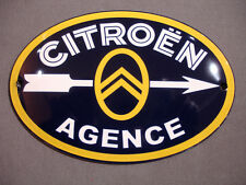 PLAQUE EMAILLEE BOMBEE panneau CITROEN AGENCE petit format enameled metal sign