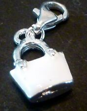 SILVER & WHITE  ENAMEL BAG CLIP ON CHARM FOR BRACELETS - SILVER PLATED - -NEW