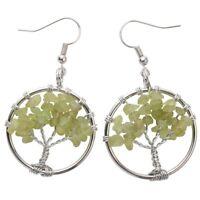 Natural Tourmaline Dangle Hoop Earrings Handcraft Jewelry Gifts Women Mom CAE01