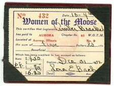 Vintage 1932 Aurora Kane County Il ephemera Women of the Moose card Wotm Lodge