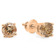 1.00 CT 14K Rose Gold Round Cut Champagne Diamond Ladies Stud Earrings