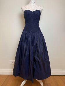 Vintage Dress Size 10   12 Navy Taffeta Midi Party Cocktail 1950s Mad Men
