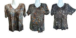 Damen Sommer T-Shirt, Kurzarm mit Blumen-Design, 95% Baumwolle + 5% Elasthan