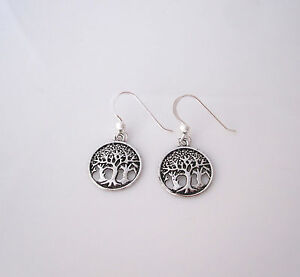 925 Sterling Silver TREE FOREST round dangle earrings