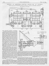 1907 Antique Engineering Print - Details of the Sheffield Simplex Motor Car