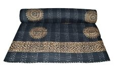 Indian Embroidery Kantha Quilt Bedspread Block Print Throw Cotton Gray