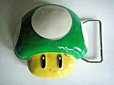 "Mario Bros. ""Green Mushroom"" 3D Enamel Metal Belt Buckle  -Nintendo"