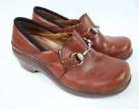Women's Ariat Clogs Brown Leather Wedges Horse Bit Clasp 93628 Size 5.5 B