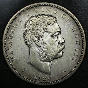 1883 50c Kingdom of Hawaii Silver Half Dollar AU rare old coin money