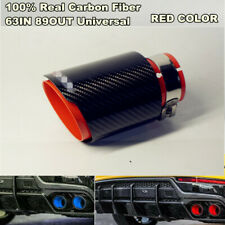 Real Carbon Fiber Sport Style Glossy Black & Red Exhaust Tips Muffler 63mm-89mm