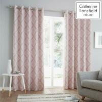 Catherine Lansfield Aztec Fully Lined Eyelet Geo Curtains Blush Free P&P