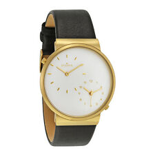 NEW SKAGEN GOLD TONE, BLACK GENUINE LEATHER BAND,2,DUAL TIME,THIN  WATCH SKW6107