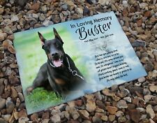 Personalised headstone gravestone, pet dog in loving memory, Doberman dog