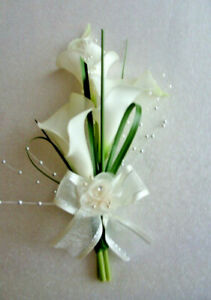 Calla Lily real touch Ladies Corsage Groom Wedding Guests