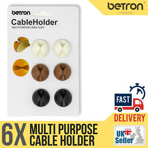 6 x Cable Clips, Ties, Charger Wire Holder Tidy Management, Lead Desk Organiser