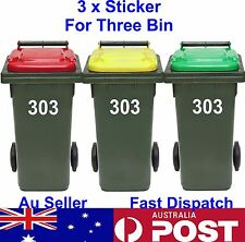 Rubbish Bin Sticker house number Decal Garbage wheelie bin sign