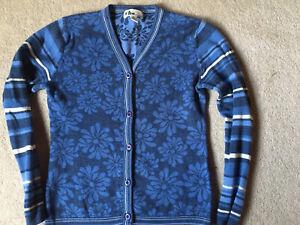 Neve Womens Sweater Cardigan Button Blue Floral Stripes Wool M Medium