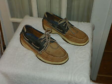 Men's Sperry Tan & Black Leather Topsider Boat Shoes Size 9 M
