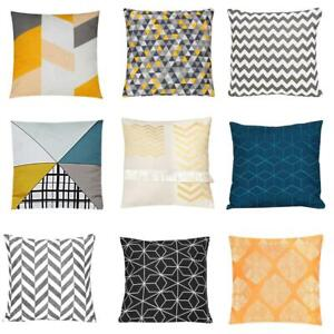 """Geometric Multicoloured Embroidered 100% Cotton Filled Bed Cushion 18x18"""""""
