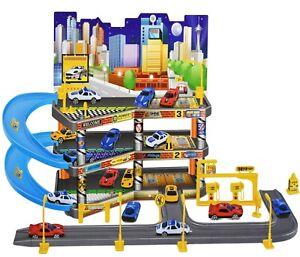 Kids 3 Level City Car Park Toy Garage Petrol Station Play Set + 4 Cars Vehicles