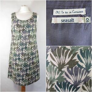 Seasalt Ivy Wool Pinafore Dress UK 10 A-line Fully Lined Green & Crea Palm Print
