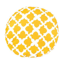 "Arabesque Mustard 15"" Round Ethnic Outdoor Water Resistant Scatter Cushion"
