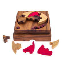 """""""Fit All in the Box"""" Brain Teaser Game - Handmade Wooden Mind Puzzle"""