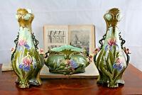 BARBOTINE VASES set Art nouveau 1900 France floral majolica 3 pieces