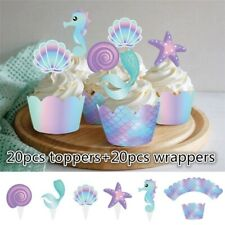 40pcs Mermaid Cupcake Wrapper Topper Decors Kids Shower Birthday Party Supplies