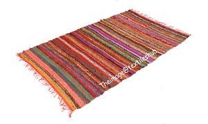 Indian Handmade Cotton Chindi Rugs Floor Yoga Mat Area Rugs Mat Carpet 4x6 Ft UK