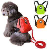 Cute School Bag Small Dog Backpack Food Snack Dog Harness Bag with Leash