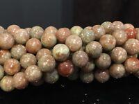 """8mm - Epidote/Unakite Round Gemstone Beads 15.5"""" Strand UK EBAYER"""