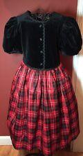 Sylvia Whyte Girls Sz. 5 Christmas Holiday Cotton Velvet & Silk Dress