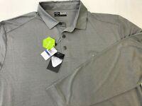 NEW Men's Callaway XL Long Sleeve Golf Polo Shirt Gray Stripe Opti Dri / Stretch